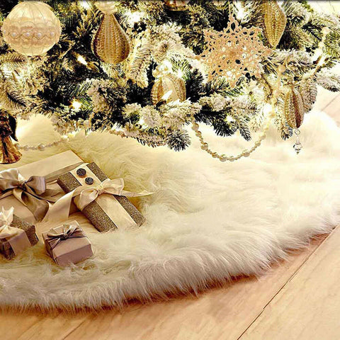 Christmas Tree Skirt decorations 78/90/122/152cm Snow Base Floor Mat Cover Decor