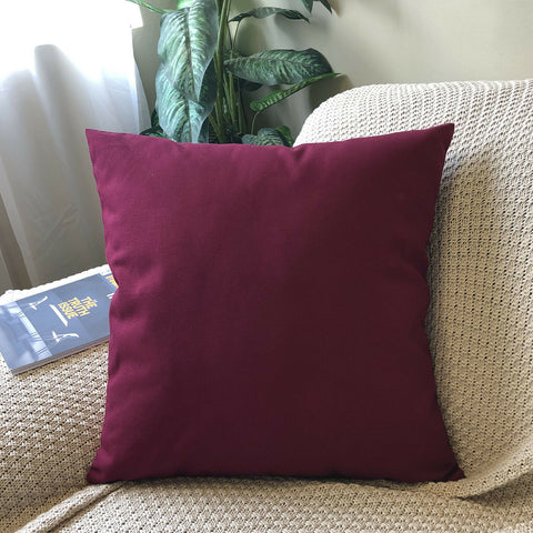 (Burgundy)Plain Dyed Soilid Cotton Canvas Cushion Cover Decorative Accent Pillow Case Sham