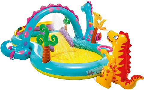 Intex Kids Backyard Dinoland Play Centre Pool | Inflatable Water Spray Dinosaur