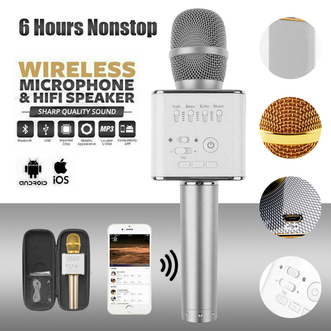 Sliver Bluetooth Q9 Microphone Samsung Android Speaker Wireless 4.0 KTV Karaoke