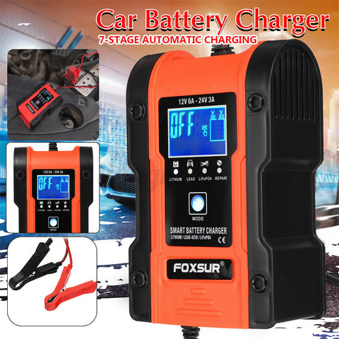 *Smart LCD Automatic Car Battery Charger Pulse Repair Motorcycle Boat 12V 24V