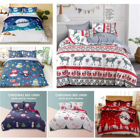 Christmas Ultra Soft Quilt Doona Duvet Cover Set Single Double Queen King Gift