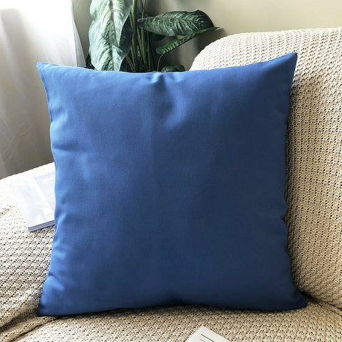 (Royal Blue)Plain Dyed Soilid Cotton Canvas Cushion Cover Decorative Accent Pillow Case Sham