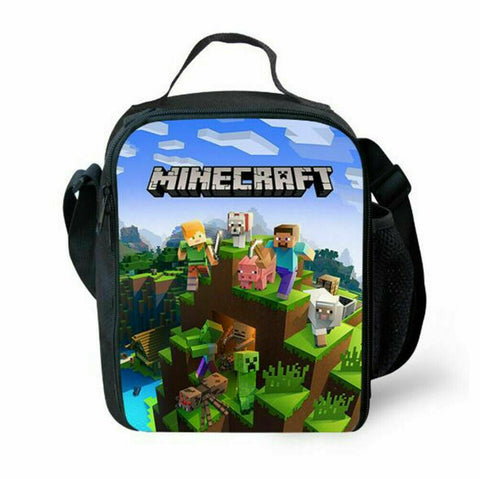 AU Kids Minecraft Insulated Lunch Box Bags Boy Girl School Picnic Snack Cool Bag