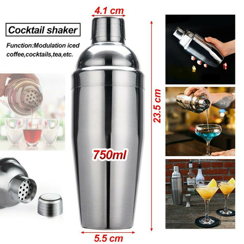 Cocktail Shaker Set Kit Stainless Steel Drink Boston Jigger Mixer Bar 750ml AU