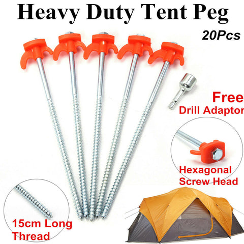 20X Heavy Duty 25cm Drill Screw In Ground Tent Pegs Camping Awning Ground Stakes