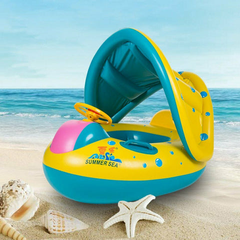 Smart Inflatable Baby Float Seat Boat Ring Adjustable Sunshade Protect Swim Pool