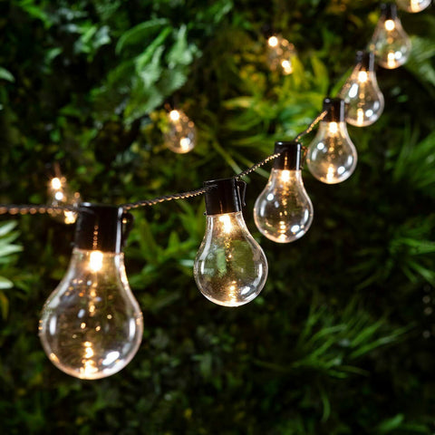 Retro Solar String Lights Outdoor Garden LED Festoon Party Globe 20 Bulbs Light~