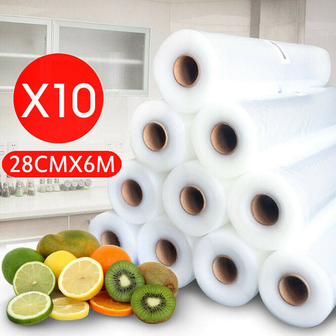 10 Rolls Vacuum Food Sealer Saver Bag Seal Storage Commercial Heat Grade 6MX28cm
