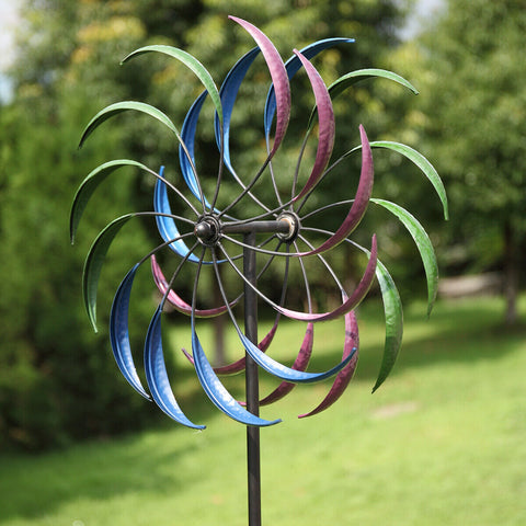 2M Metal Windmill Garden Art Decor Wind Spinner Kinetic Yard Colorful Sculpture