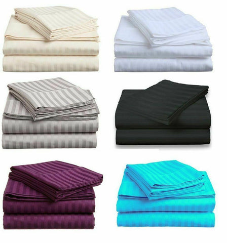 1800TC Bamboo/Cotton Blended 4 Pcs FITTED & FLAT Sheet Set Double/Queen/King Bed