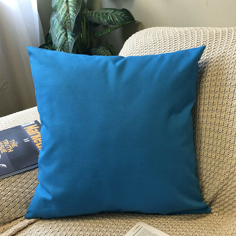 (True Blue)Plain Dyed Soilid Cotton Canvas Cushion Cover Decorative Accent Pillow Case Sham