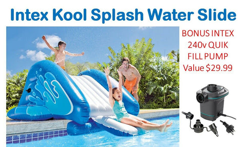 Intex Inflatable Water Slide Pool Kool Splash Slide Bonus 240v Pump 58849