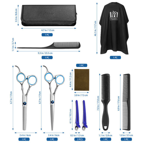 10pcs/set Professional Hair Cutting Thinning Scissor Barber Shears Hairdressing
