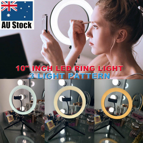 "10"" Dimmable LED Ring Light with Tripod Stand Selfie Make Up Video Lamp Lighting"