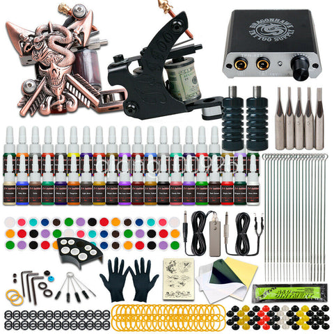 Beginner Tattoo Kit Set 40 color Inks Power Supply 2 Machine Guns Needles Tips