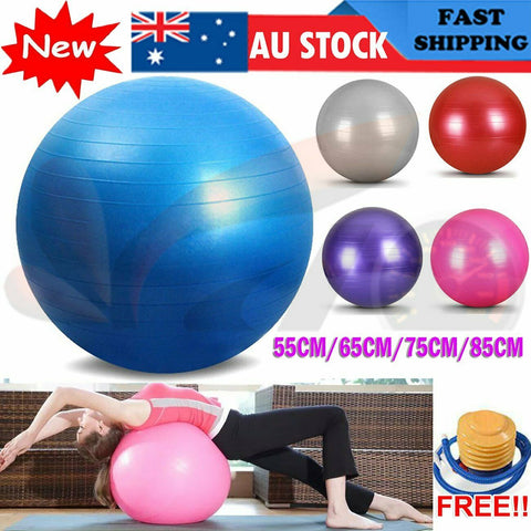 Gym Yoga Ball Home Fitness Exercise Balance Pilates Inflatable 55cm 65 75 85cm