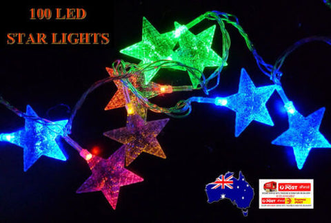 12.9M 100LED Multi Colour Star Wedding Party Fairy Light Christmas Light