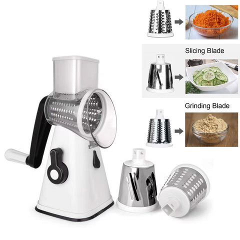 Kitchen Multifunction Vegetable Food Manual Grater Chopper Slicer 3 Blades