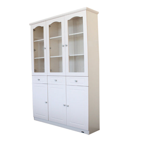 French Glass Display Cabinet Beige - 3 Door