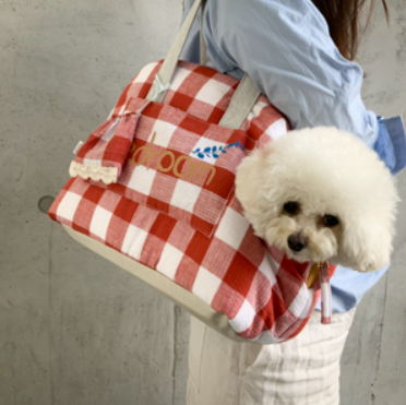 "LE SAC ""BEDROOM"" by Louisdog <br> Lin Carreaux Rouge/Blanc"