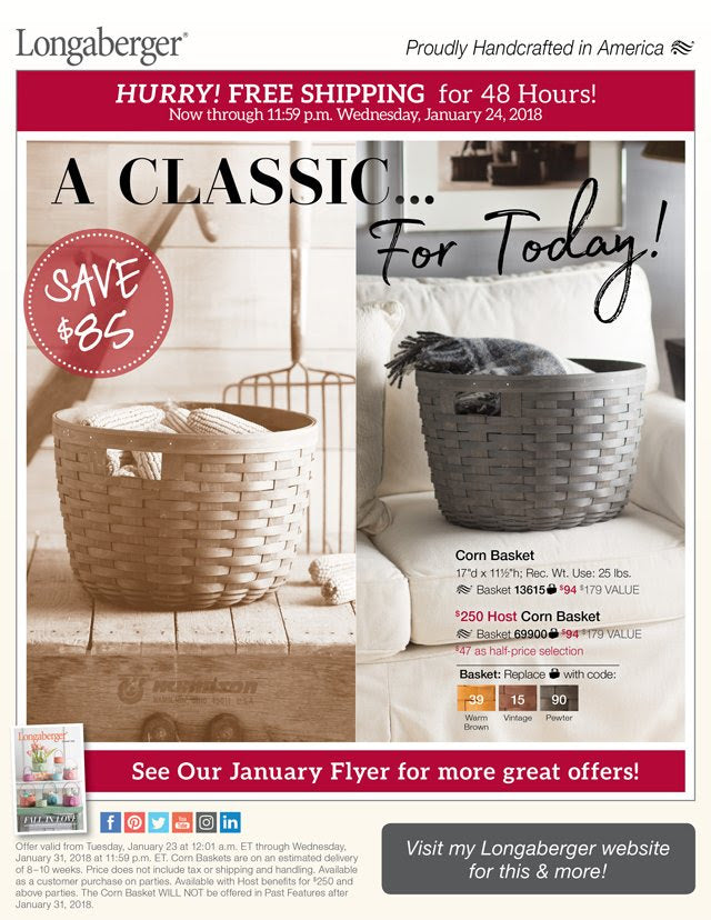 Longaberger NEW Corn Basket - Timeless Elegance - Endless Function!