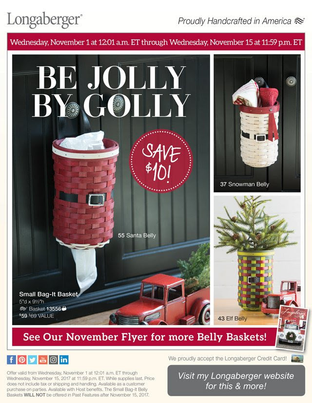 Longaberger Jolly Belly Bag-It Basket - November SALE