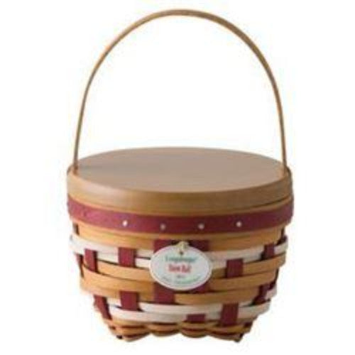 Longaberger 2017 Tree Trimming Snow Ball Christmas Basket Set - Red