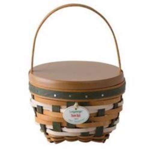 Longaberger 2017 Tree Trimming Snow Ball Christmas Basket Set - Green