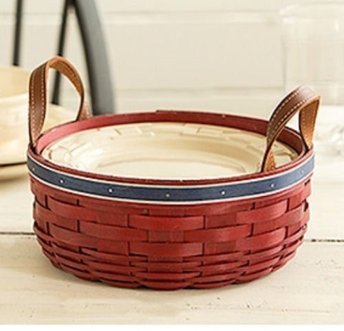 Longaberger Glitter Trim Darning Basket - Red White & Blue