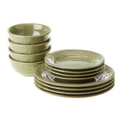 Longaberger Woven Traditions®  Pottery 12-Pc Dinnerware Set - Sage