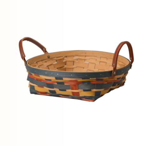 Longaberger Round Serving Basket - Autumn Plaid