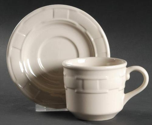 Longaberger Woven Traditions®  Pottery Cup & Saucer - Ivory **Made in America**