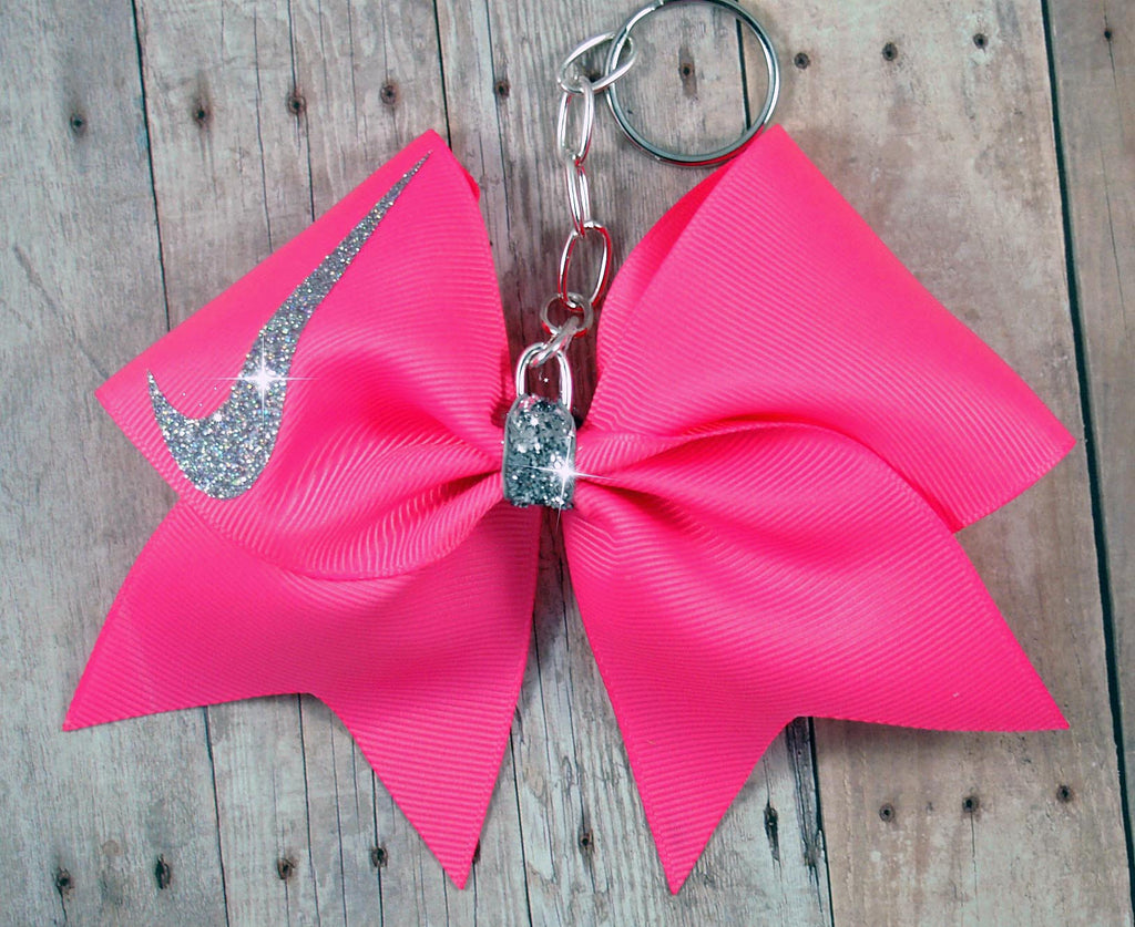 Hot pink Nike cheer bow keychain