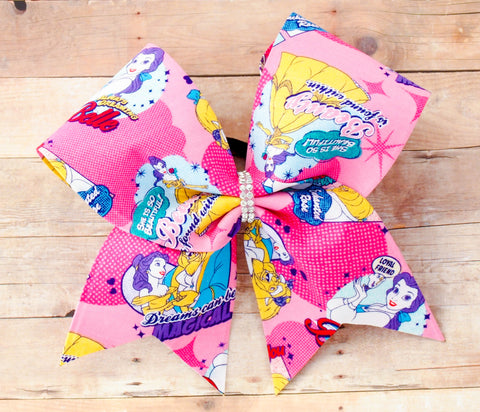 Beauty and the Beast fabric cheer bow