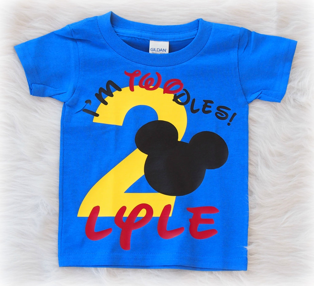 Im Twodles Mickey Mouse Second Birthday Shirt In Blue Once Upon A Twincess