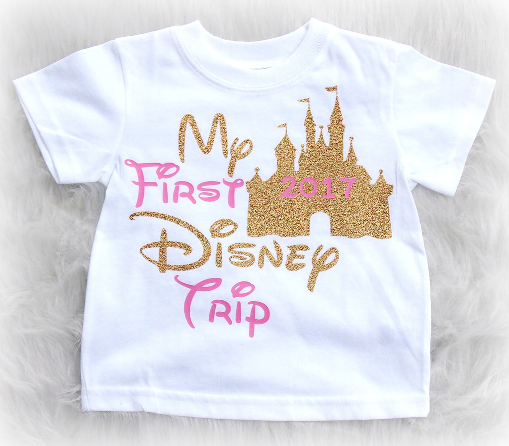 my first disney trip vacation shirt for infants and kids