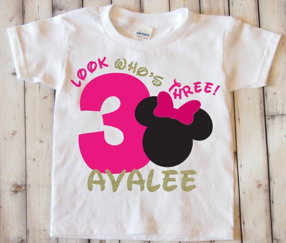Look Who's Three Minnie Mouse Third birthday shirt