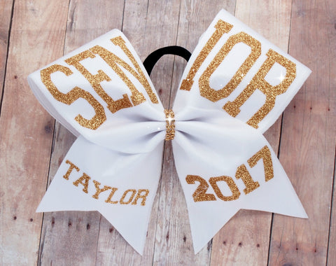Senior cheer bow - cheer bows - senior 2017 - senior night cheer bow - white and gold cheer bow - softball bows - dance bows