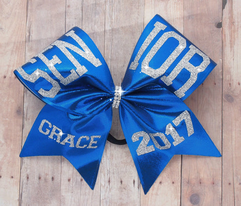 Senior cheer bow - cheer bows - graduation 2017 - senior 2017 - royal blue and silver cheer bow - cheerleading bows - softball bows