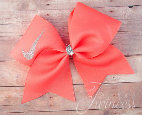 Cheer bow in Coral