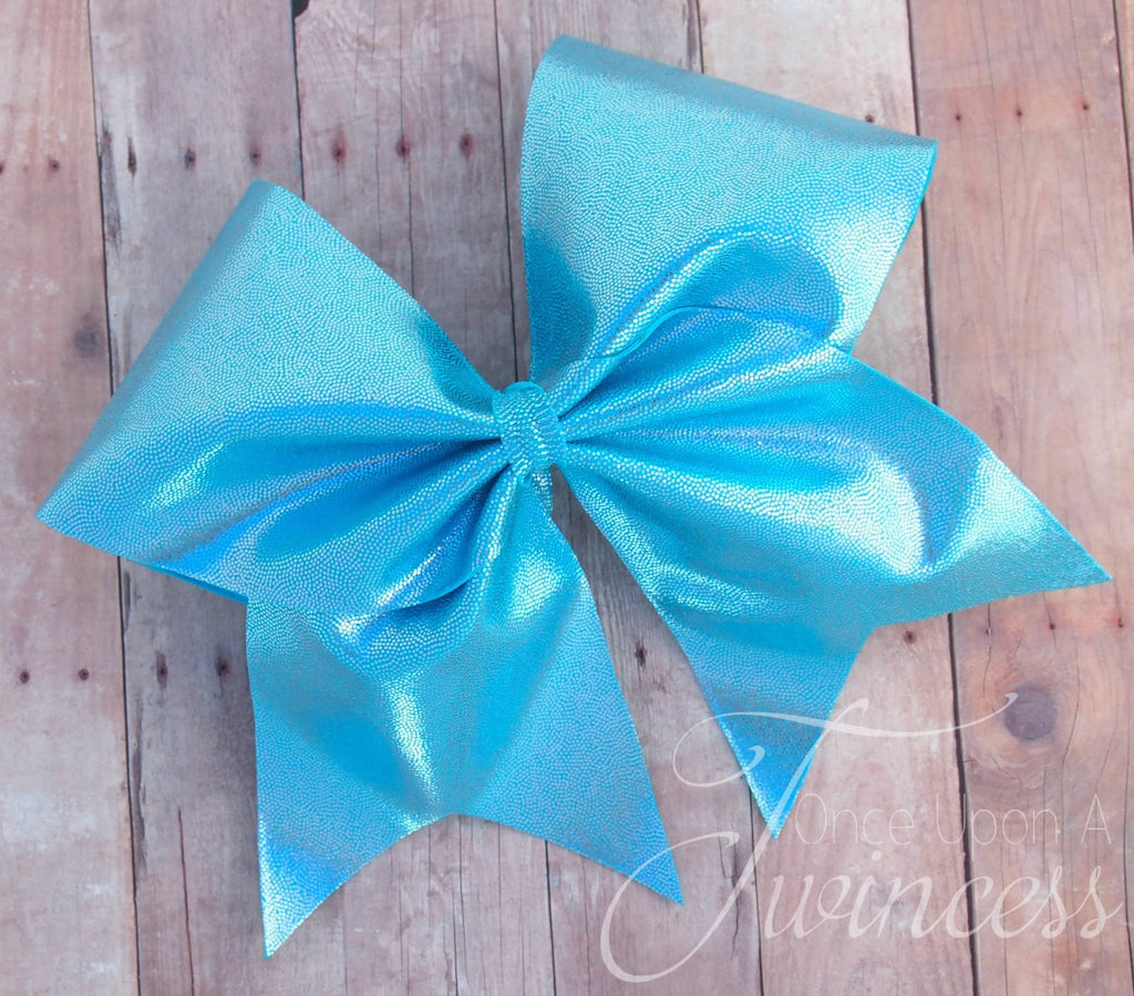 Shiny Blue Cheer Bow
