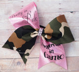 Pretty In Pink Dangerous in Camo cheer bow