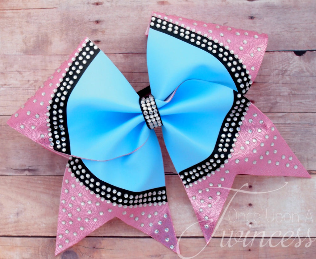 Pink and Blue Cheer Bow with Rhinestones
