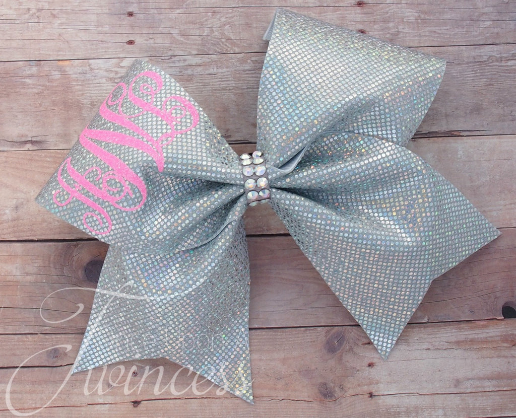 Monogram cheer bow with rhinestones