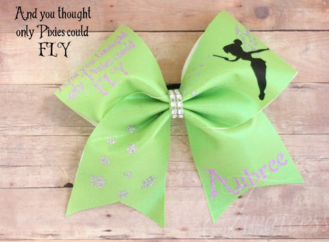 Cheer Bows for Flyers - Tinkerbell Cheer Bows , And You Though Only Pixies Could FLY, personalized Cheer Bows, Gifts for cheerleaders