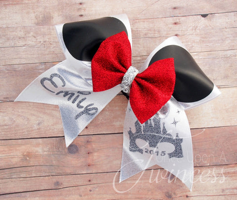 Disney Mouse Ears cheer bow in red.