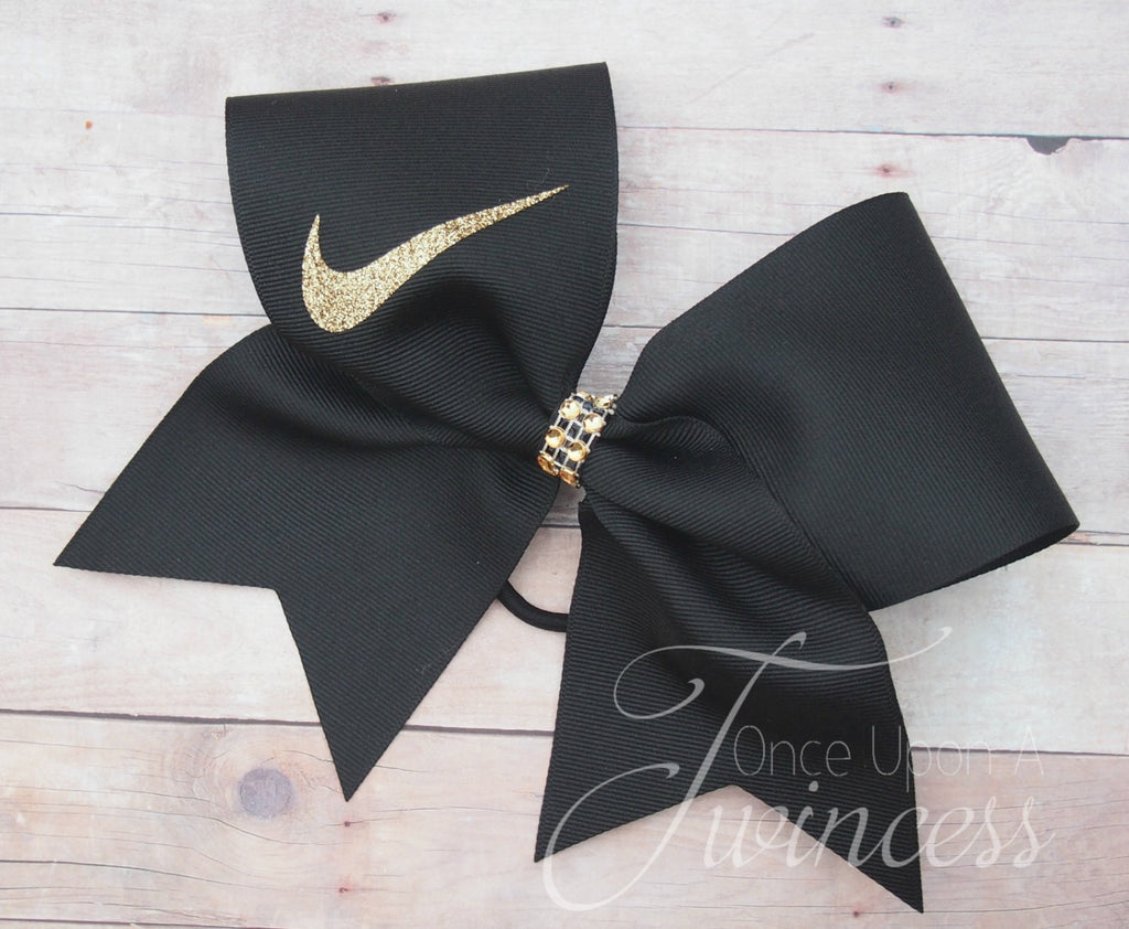 black and gold Nike cheer bow