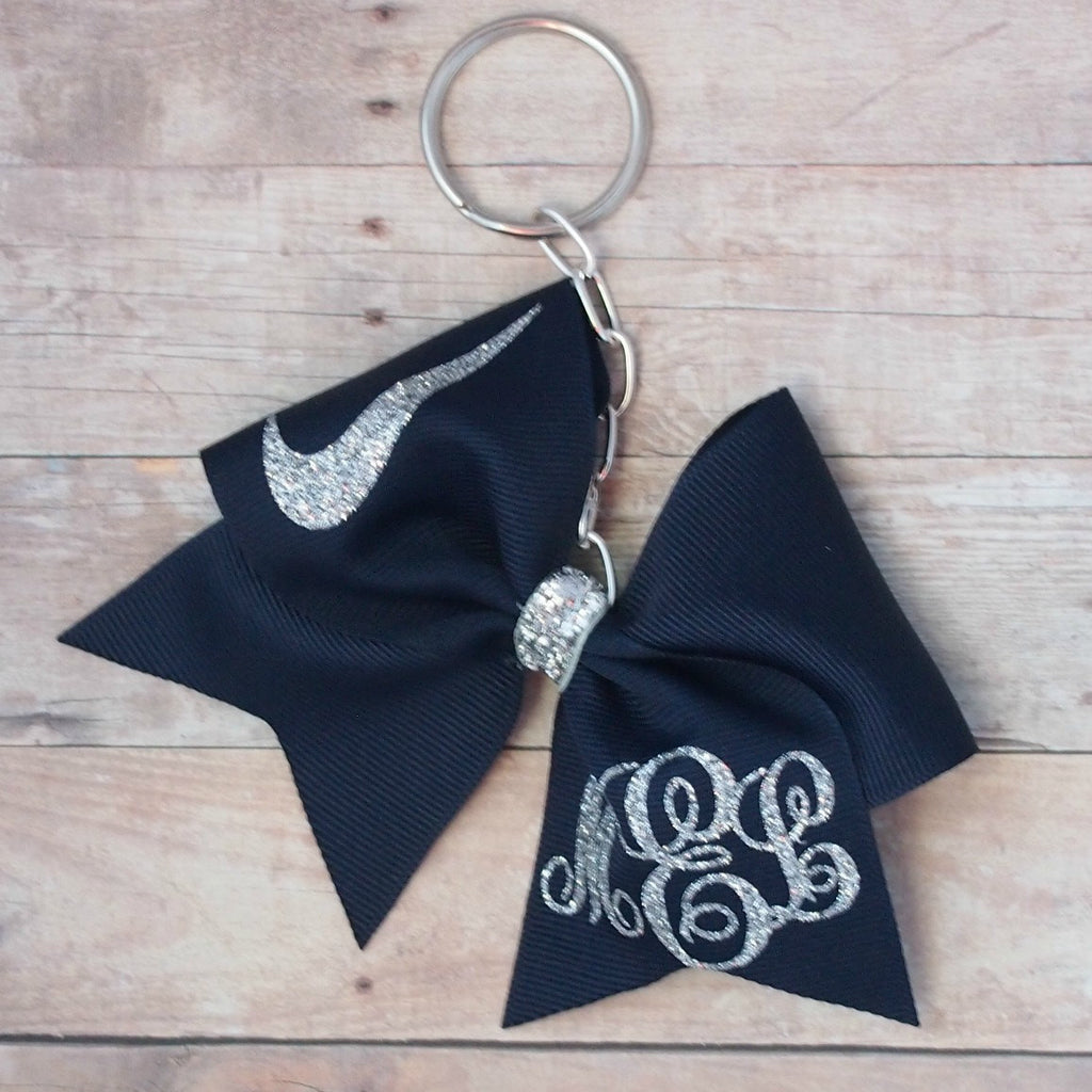 Personalized Navy cheer bow keychain