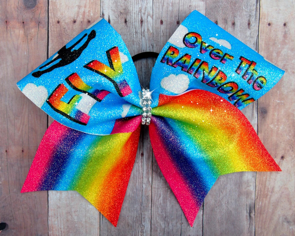 Fly Over The Rainbow Cheer Bow, gifts for cheerleaders, competition cheer bow, glitter, Rainbow, cheer bow with sayings